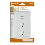 Woods 2-Outlet/2 USB Plug in Charging Wall Tap, White (41230)