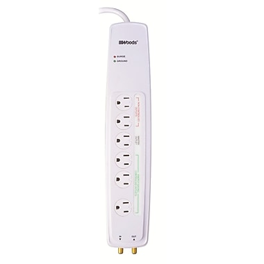Woods 3-Feet 6-Outlet Multimedia Energy-Saving Protectors with Coax Protection, White (041706)