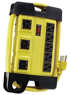 Coleman Cable 8-Outlet Power Strip with 6-Ft Cord, Yellow (04655)