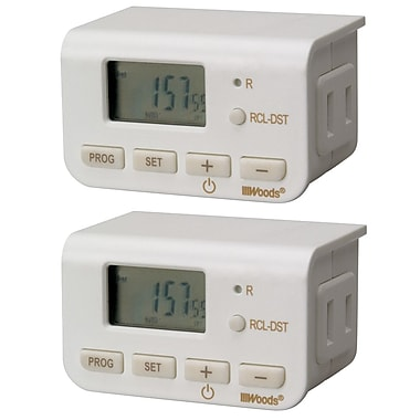 Woods Indoor 24-Hour Digital Timer, Daily Settings, 2-Pack (50007)