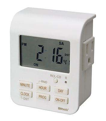 Woods Indoor 7-Day Heavy Duty Digital Outlet Timer with 2-Outlets, Programmable, White (50009)