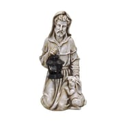 Moonrays St Francis Garden Statue with Lantern and Solar Powered Amber LED Light, Faux Stone Finish (91364)