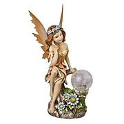 """Moonrays """"Ami"""" Garden Pixie Statue with Solar Powered Color-Changing LED (91549)"""