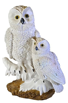 Moonrays Snowy Owl Pair Garden Statue with Solar Powered White LED, White (91579) 24011471