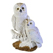 Moonrays Snowy Owl Pair Garden Statue with Solar Powered White LED, White (91579)