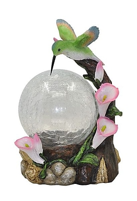 Moonrays Hummingbird Globe Garden Statue with Solar Powered Color-Changing LED Light, Multicolor (92365)
