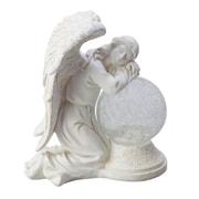 Moonrays Serene Angel Garden Statue with Crackle Globe & Solar Powered White Ledstone (92367)