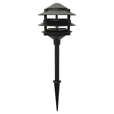 Moonrays Pagoda-Style Low Voltage 11-Watt 12-Volt 3-Tier Metal Path Light, Black Finish (95725)