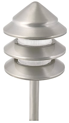 Moonrays Holton-Style Low Voltage 11-Watt 12-Volt 3-Tier Metal Path Light, Nickel Finish (95878)