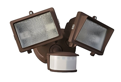 Designer's Edge 300-watt 270-Degree Diecast Metal Twin Head Motion Activated Security Flood Light with Bulb, Bronze (L6008BR)