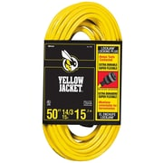 Yellow Jacket 50-Feet 14/3 Heavy-Duty 15-Amp SJTW Extension Cord with Locking Plug, Yellow (2734)