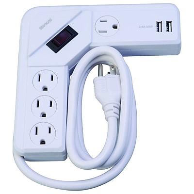Woods 4-Foot 4-Outlet Desktop USB Corner Surge Strip 490 Joules, White (41376)