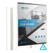"Adir Office Wall Mount Sign Holder Portrait-Style Ad Frame Side Insert Clear Acrylic 8.5""W x 11""L, 12 Pack (639-8511-12-WM)"