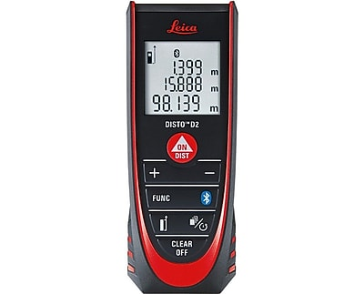 Leica DISTO D2 New 330 ft Laser Distance Measure with Bluetooth 4.0, Black/Red (LEI838725)