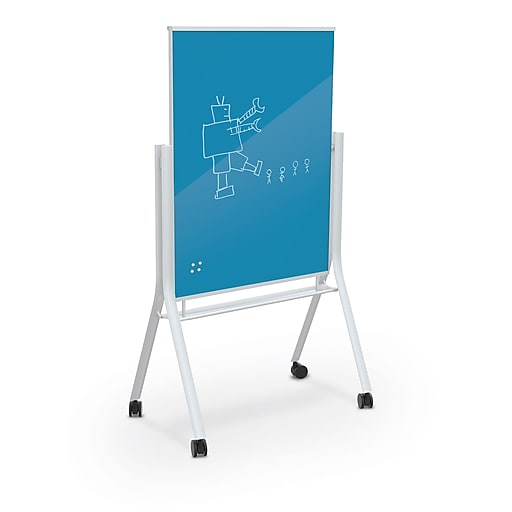 Best Rite Visionary Curve Colored Glass Whiteboard Easel White Frame Green Blue 47 24 H X 35 43 H Surface 74957 Blue At Staples