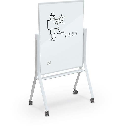 MooreCo Visionary Curve Glass Mobile Dry-Erase Whiteboard, Metal Frame, 4'  x 3' (74957-WHITE)