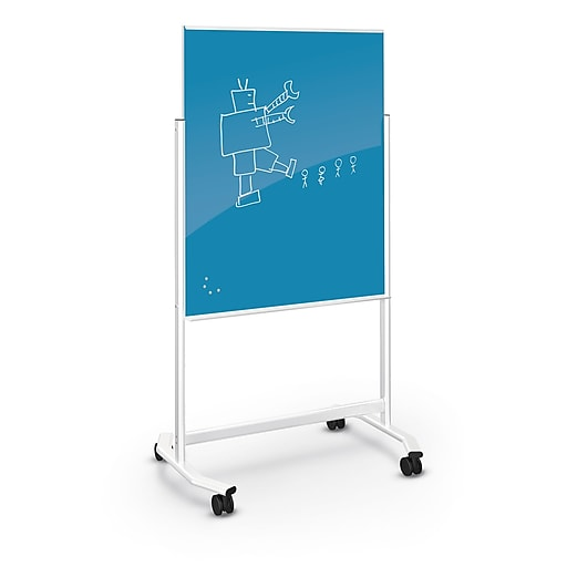 Best-Rite Visionary Move Glass Mobile Dry-Erase Whiteboard, Metal Frame, 4'  x 3' (74965-BLUE)