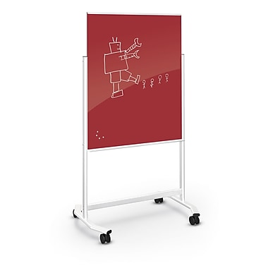 Best-Rite Visionary Move Colors Double Sided Whiteboard Easel White Frame Green Red 47.24
