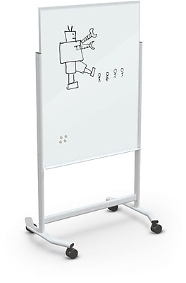 Best-Rite Visionary Move Colors Double Sided Whiteboard Easel White Frame White Glass 47.24
