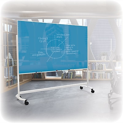 Best-Rite Visionary Move Colors Double Sided Whiteboard Easel White Frame Green Glass 47.24