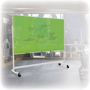 "Best-Rite Visionary Move Colors Double Sided Whiteboard Easel White Frame Blue Glass 47.24""H x 70.87""W Surface (74973-Blue)"