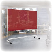 "Best-Rite Visionary Move Colors Double Sided Whiteboard Easel White Frame Red Glass  47.24""H x 70.87""W Surface (74973-Red)"