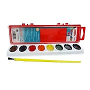 Charles Leonard Semi-Moist Watercolor Paint Set, Oval Pan with Brush, 8 Assorted Colors, 12 Sets (CHL40508-12)