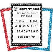 Top Notch Teacher Products Chart Tablet Easel Pad, Red/Blue/Black, 25 Sheets Per Pack, 3 Packs (TOP3836)