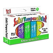The Pencil Grip Washable Jumbo Solid Tempera Paint Stick, Assorted Neon Colors, 1.4 oz./Pack (TPG645)