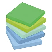 """Post-it® Recycled Super Sticky Notes, 3"""" x 3"""", Bora Bora Collection, 90 Sheets/Pad, 5 Pads/Pack (654-5SST)"""