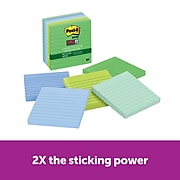 """Post-it® Recycled Super Sticky Notes, 4"""" x 4"""", Bora Bora Collection, Lined, 90 Sheets/Pad, 6 Pads/Pack (675-6SST)"""