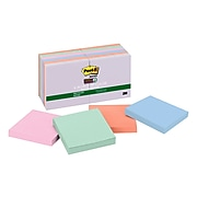 """Post-it® Recycled Super Sticky Notes, 3"""" x 3"""", Bali Collection, 90 Sheets/Pad, 12 Pads/Pack (654-12SSNRP)"""