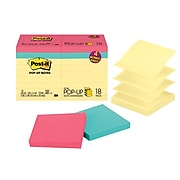 """Post-it® Pop-Up Notes Value Pack, 3"""" x 3"""", Canary Yellow, Assorted Colors, 18 Pads/Pack (R330-14-4B)"""