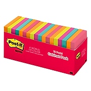 "Post-it® Notes, 3"" x 3"" Cape Town Collection, 100 Sheets/Pad, 18 Pads/Cabinet Pack (654-18CTCP)"