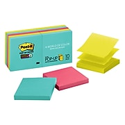 """Post-it® Super Sticky Pop-up Notes, 3"""" x 3"""", Miami Collection, 90 Sheets/Pad, 10 Pads/Pack (R330-10SSMIA)"""