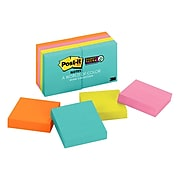 """Post-it® Super Sticky Notes, 1 7/8"""" X 1 7/8"""", Miami Collections, 90 Sheets/Pad, 8 Pads/Pack (622-8SSMIA)"""