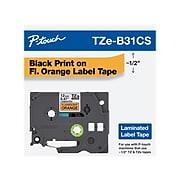 "Brother P-touch TZe-B31 Label Maker Tape, 0.47""W, Fluorescent Orange/Black"