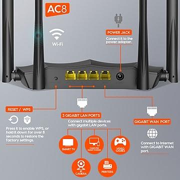 Tenda AC8 (AC1200) Dual band Wireless Gigabit Router, Black