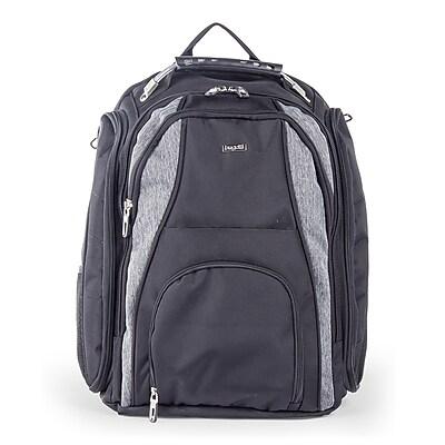 Bugatti Backpack in Polyester, Grey/Black (BKP113-BLACK)
