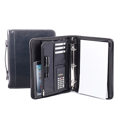 Bugatt Ring Binder in Leather, Black (RGB1107-Black)