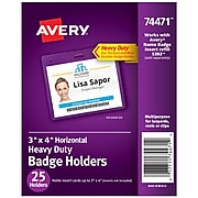 Avery Heavy Duty ID Badge Holders, Clear, 25/Pack (74471)
