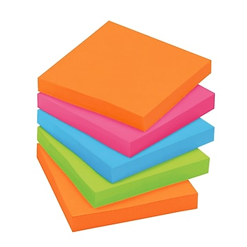 "Post-it® Super Sticky Notes Cabinet Pack, 3"" x 3"", Rio de Janeiro Collection, 70 Sheets/Pad, 24 Pads/Pack (654-24SSAU-CP)"