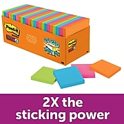 """Post-it® Super Sticky Notes Cabinet Pack, 3"""" x 3"""", Rio de Janeiro Collection, 70 Sheets/Pad, 24 Pads/Pack (654-24SSAU-CP)"""