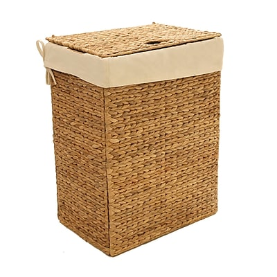 Seville Classics Foldable Water Hyacinth Portable Hamper(WEB290)