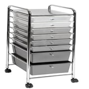 Seville Classics 8 Drawer Storage Bin Organizer Cart, White/Gray/Black Gradient