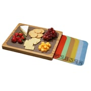 Bamboo Cutting Board and 7 Color Coded Flexible Cutting Mats with Food Icons Set