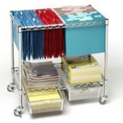 Seville Classics 3-Tier Mobile Letter/Legal Office File & Utility Cart with 2 Steel Wire Mesh Baskets(OFF42569B)