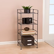 Seville Classics 4-Tier Iron Bar Square Tower Shelving, Satin Pewter(SHE04125B)