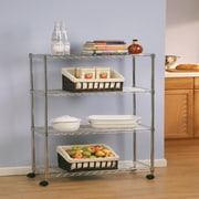 Seville Classics 4-Tier UltraZinc Steel Wire Shelving with Wheels(SHE14304ZB)