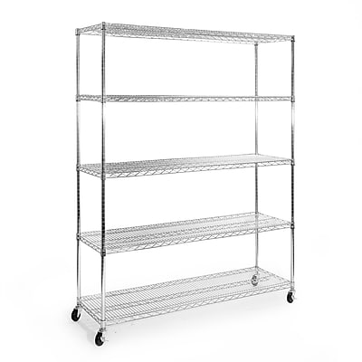 Seville Classics 5-Tier UltraZinc NSF Steel Wire Shelving with Wheels(SHE18603)